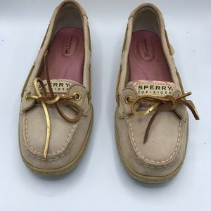 Sperry Top Sider Boat Shoes Tan Pink